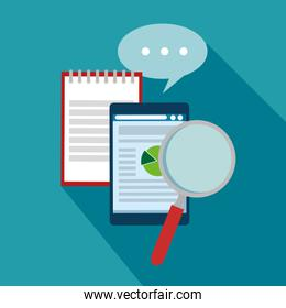business document information strategy with chat bubble