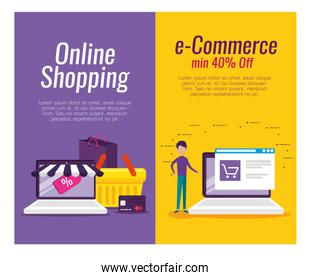 set laptop ecommerce technology with credit card