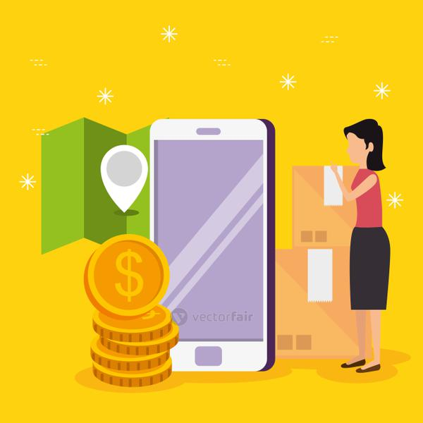woman with smartphone ecommerce technology and location