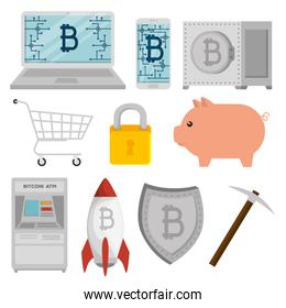set bitcoin currency with atm and pig with shield