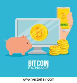 computer with smartphone exchange bitcoin currency and pig