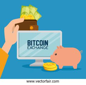 computer with bitcoin currency with pig and money
