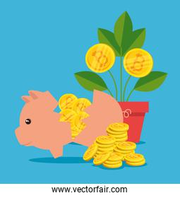 pig with international money and plant with bitcoin