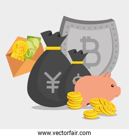 yen and dollar money with bitcoin cryptocurrency