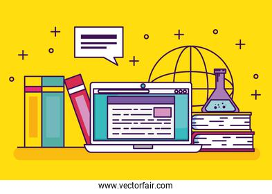 laptop technology with books education and erlenmeyer flask