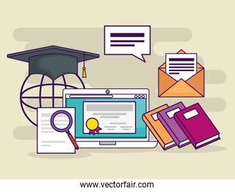 laptop with education document and books with letter