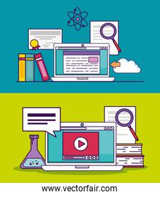 set laptop document and video education to study