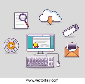 computer technology with usb and certicate diploma