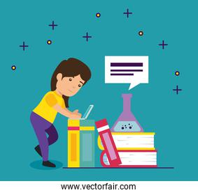 girl with education books and erlenmeyer flask