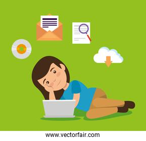 girl with laptop technology and education document
