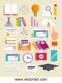 set elearning knowledge education to study online