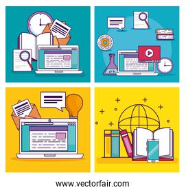 set laptop technology with elearning document education