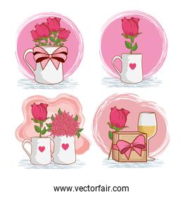 set roses plants inside vase with present gift and champagne glass