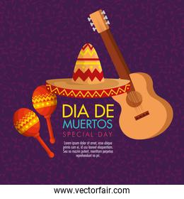 guitar with maracas and hat to day of the dead