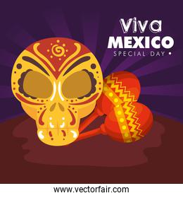 skull decoration with maracas to day of the dead event