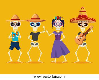 skeletons men and catrina to day of the dead celebration