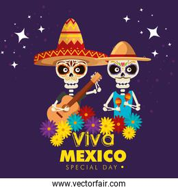 skeletons men wearing hat with guitar and maracas to event