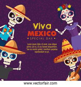 skeletons men wearing hat with catrina to celebration event