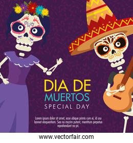 catrina and skeleton man with guitar to day of the dead event
