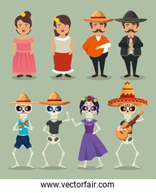 set mariachi men with woman and catrina with skeletons