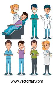set profesional dentist with patient and teeth care