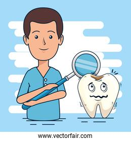 dentist man and tooth with caries diagnosis
