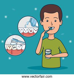 patient helathcare hygiene with toothbrush and mouthwash