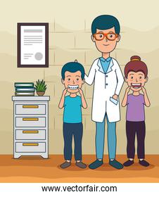 dentist man and patients children to teeth care