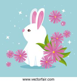 cute rabbit wild animal with flowers and leaves