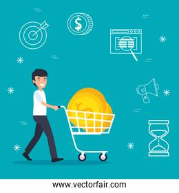 man with shopping car and business coins