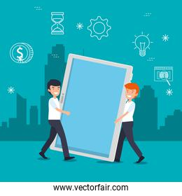 men with tablet technology and data information