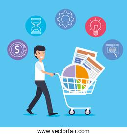 man with shopping car and statistics diagram