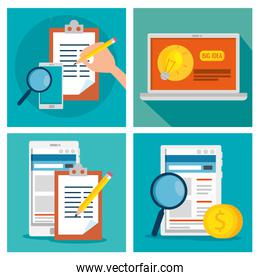 set business strategy with technology and documents information
