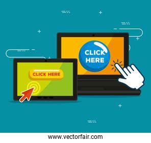 laptop and tablet with hand and arrow cursor