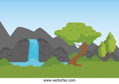 nature mountains with waterfall to wildlife reserve