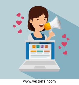 girl with megaphone and social profile with hearts