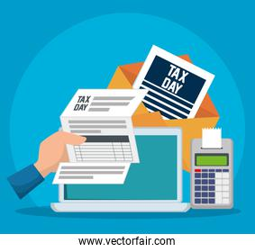 service tax document with dataphone and laptop
