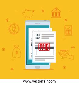 service finance tax report with smartphone