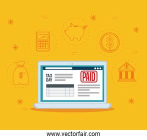 laptop with finance service tax report