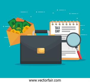 service tax document with briefcase and bills