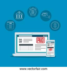 service tax report with laptop and smartphone
