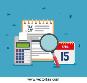 service tax report with dataphone and calendar
