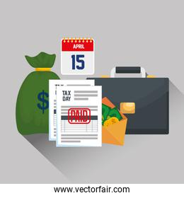 service tax report with money and briefcase