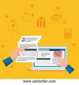 serviuce tax document report with laptop