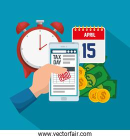 finance service tax with smartphone and bills