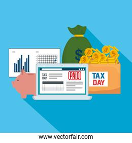 service tax report with laptop and statistics bar