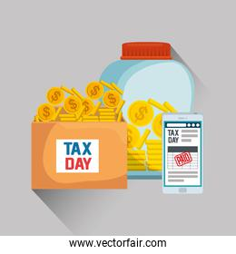 service tax with smartphone and coins currency