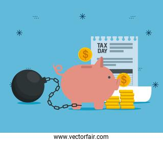 service tax with coins and pig safe money
