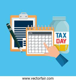 business service tax document with calendar