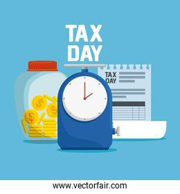finance service tax with coins currency